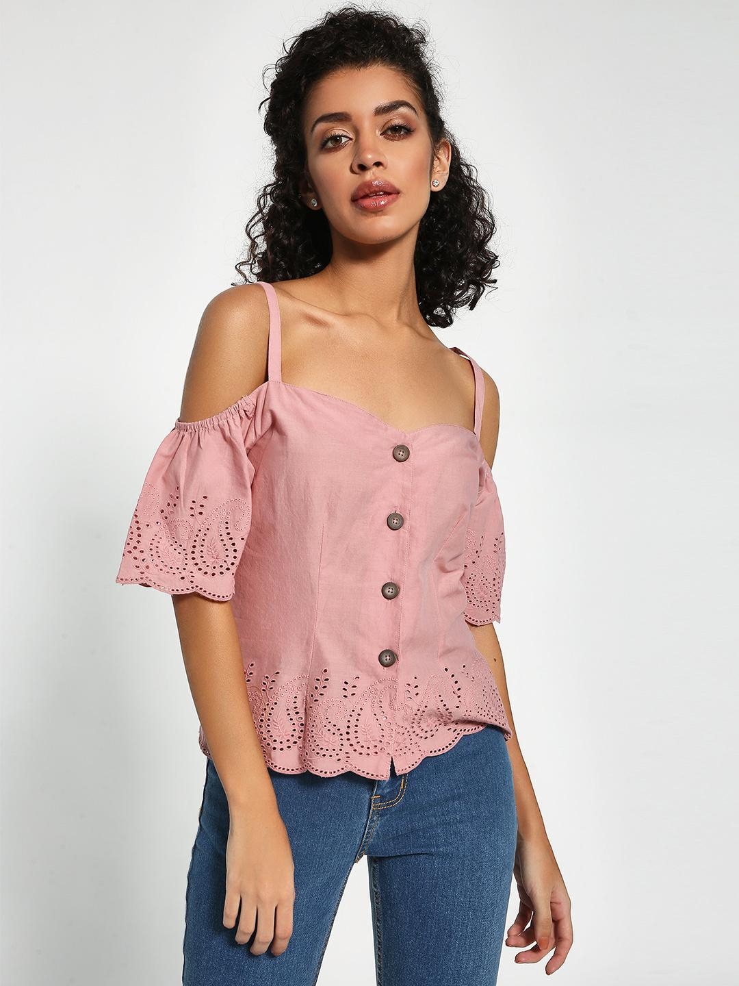 Sbuys Pink Broderie Button-Up Cold Shoulder Top 1