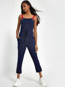 Sbuys Contrast D-Ring Strap Cropped Jumpsuit
