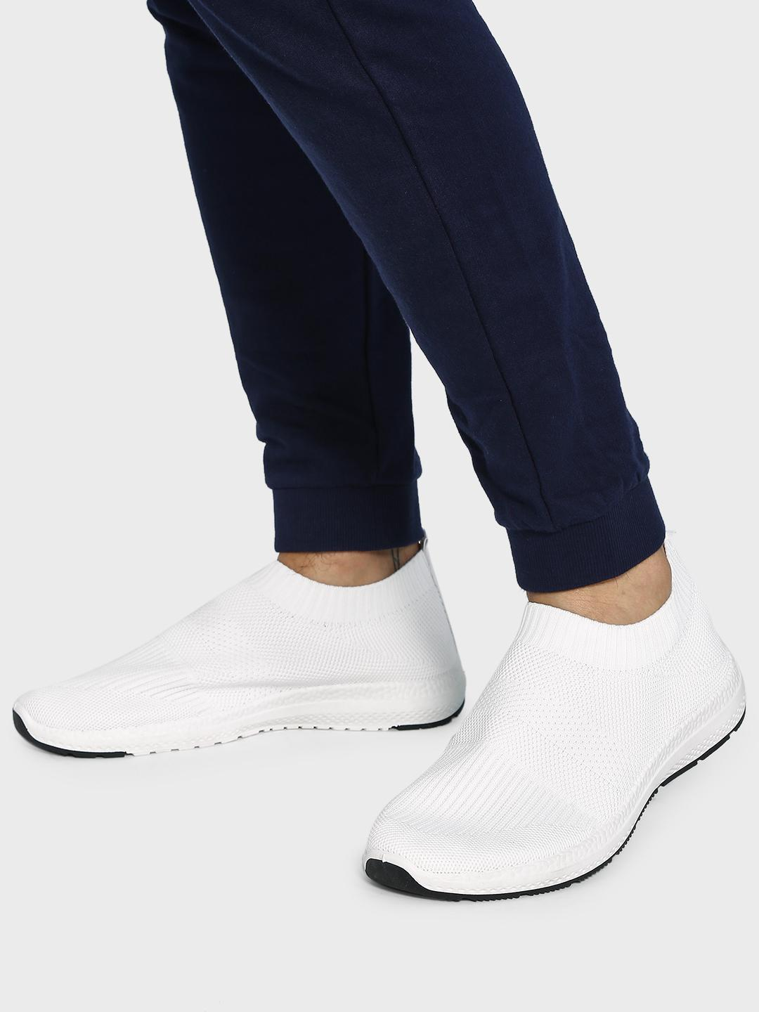 KOOVS White Contrast Sole Knitted Sockliner Shoes 1