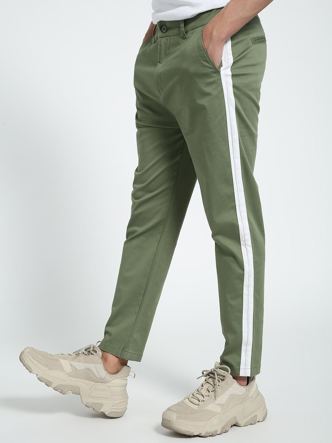 Spring Break Green Contrast Side Tape Trousers 1