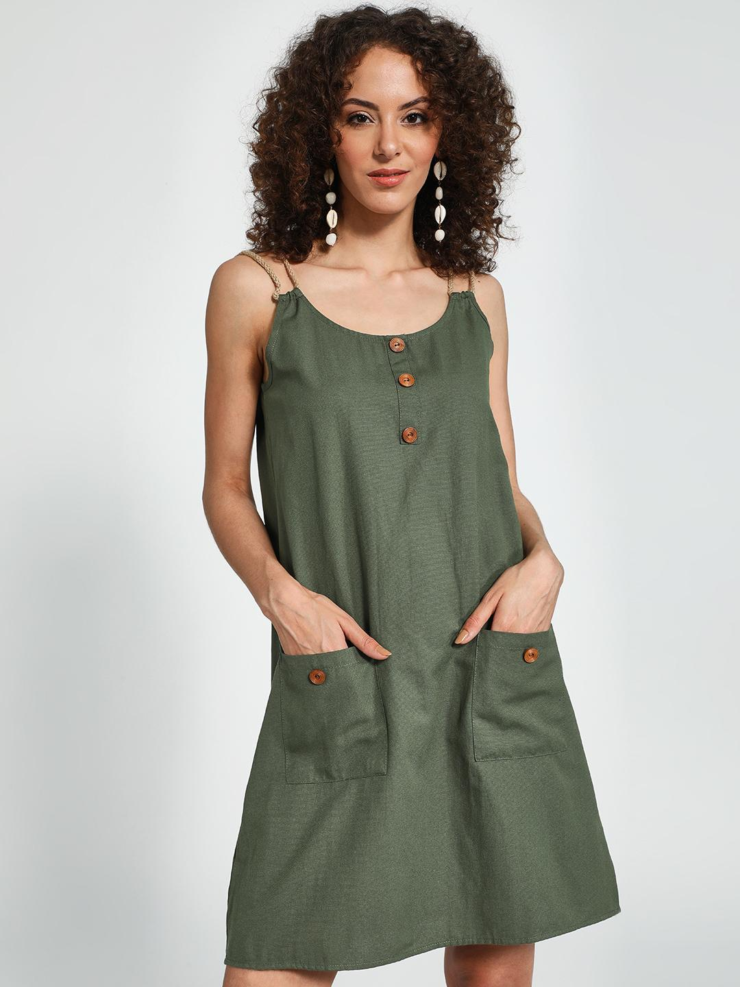 Trendyol Green Twin Pocket Mini Shift Dress 1
