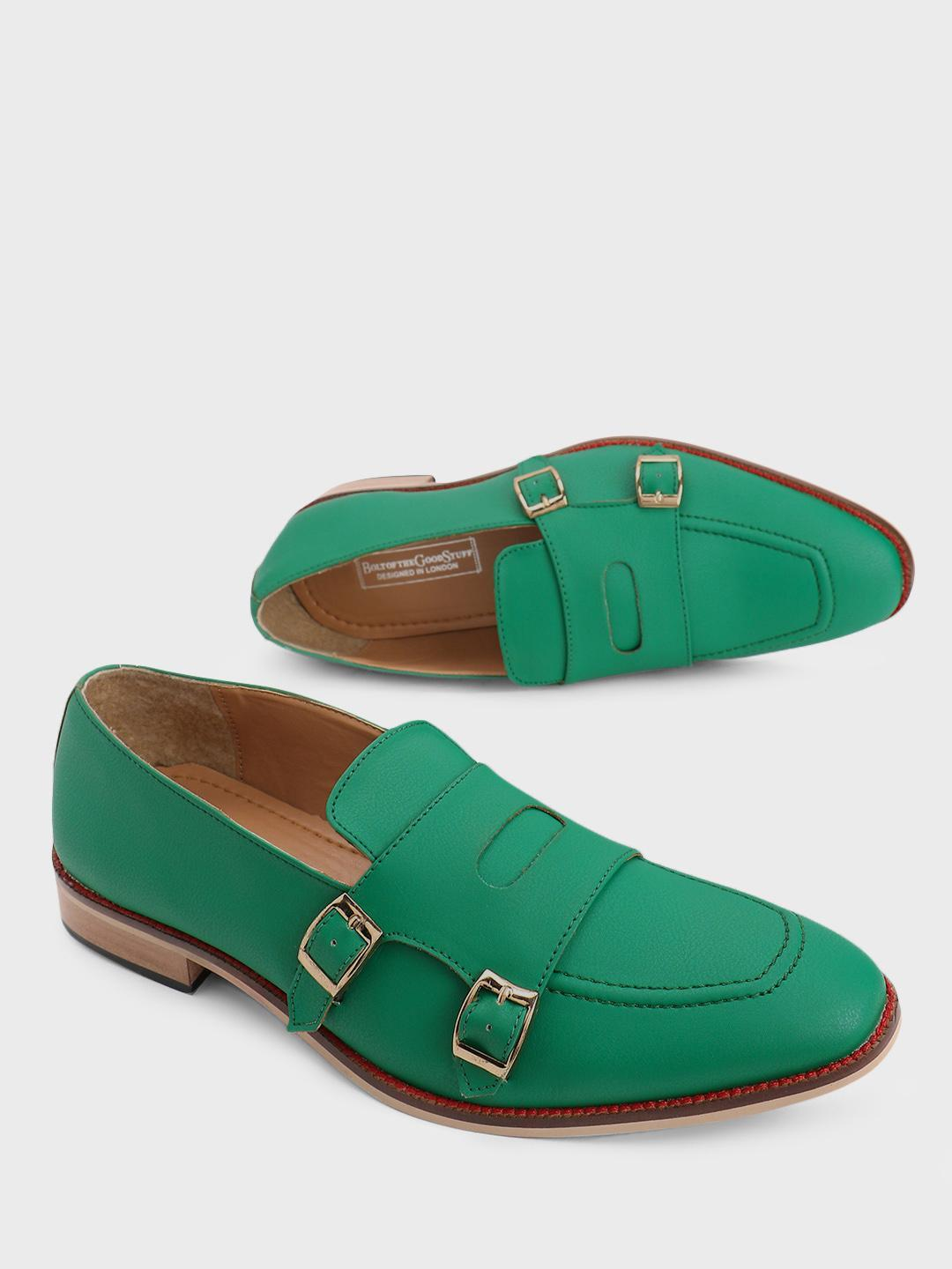 Bolt Of The Good Stuff Green Double Monk Strap Loafers 1