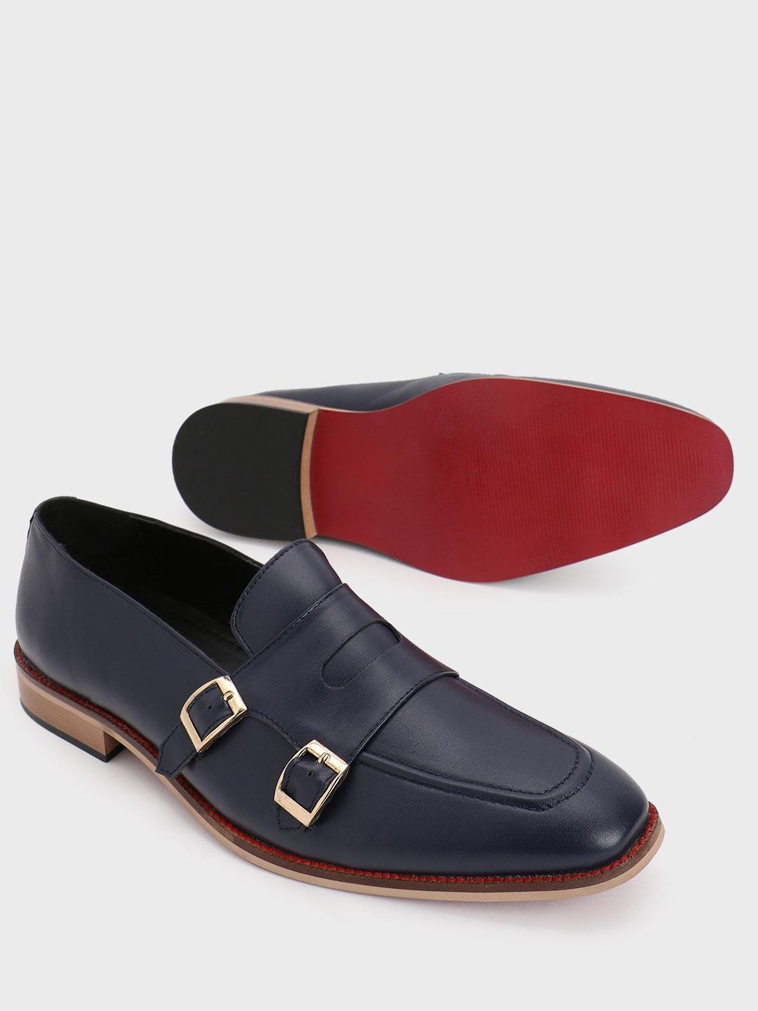 Bolt Of The Good Stuff Blue Double Monk Strap Loafers 1
