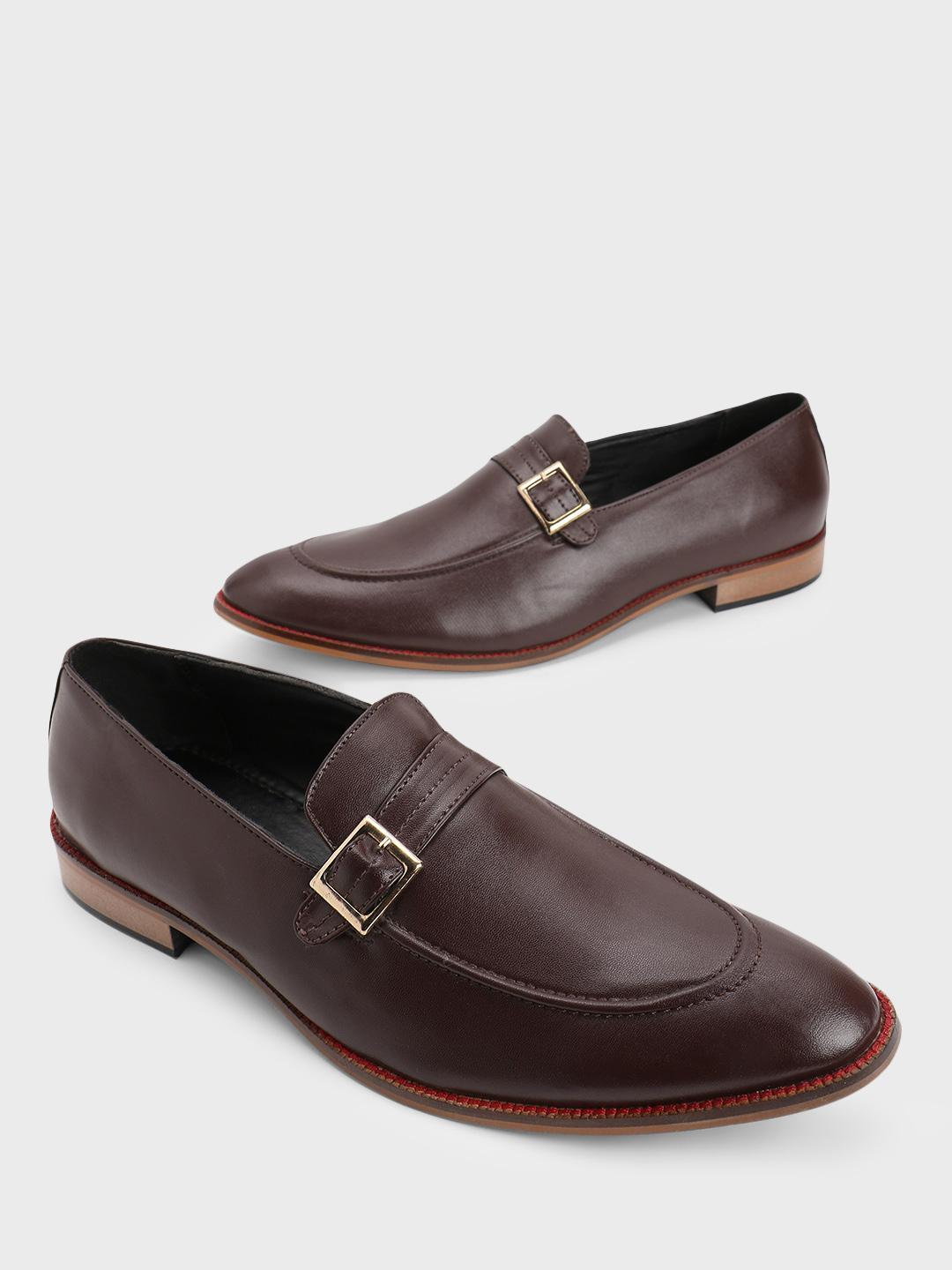 Bolt Of The Good Stuff Brown Buckle Strap Loafers 1