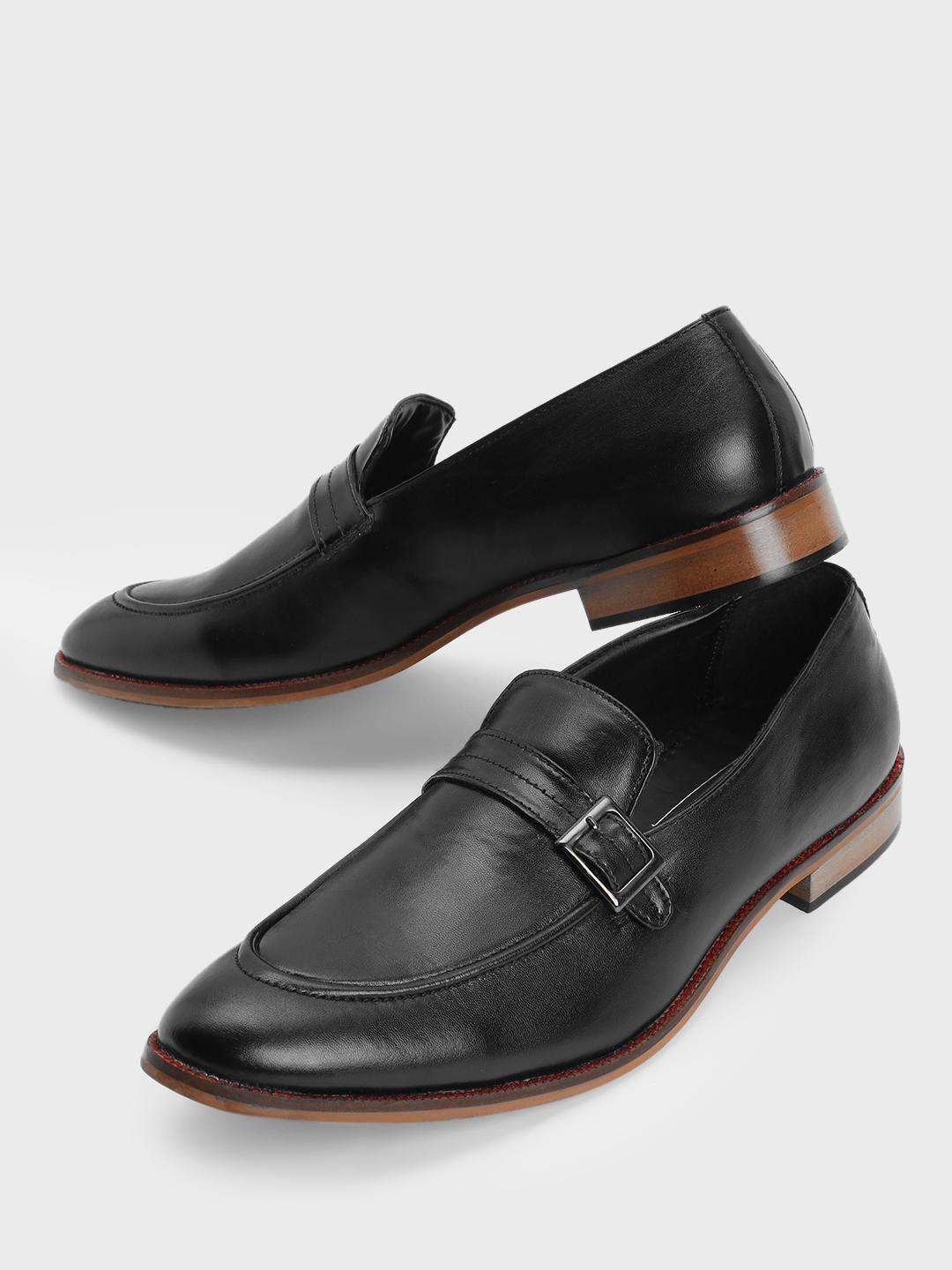 Bolt Of The Good Stuff Black Buckle Strap Loafers 1
