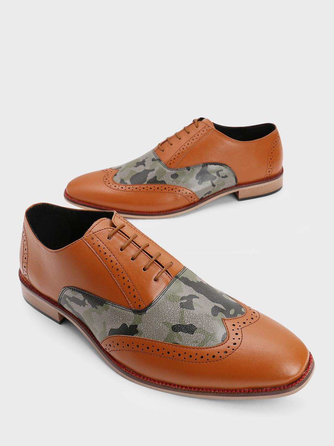 Bolt Of The Good Stuff Multi Camo Print Brogue Derby Shoes 1