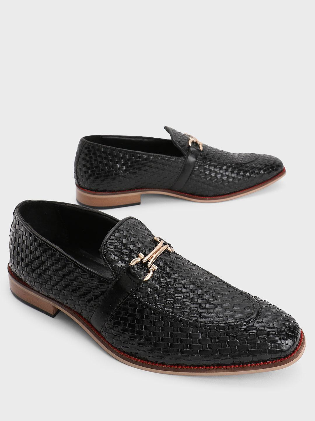 Bolt Of The Good Stuff Black Basket Weave Horsebit Loafers 1