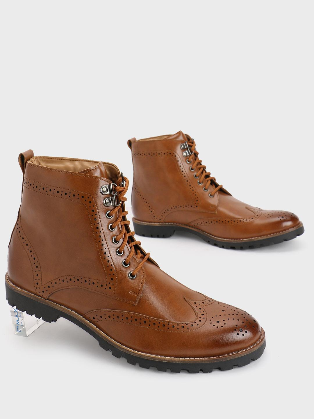 Bolt Of The Good Stuff Brown Brogue Mid Top Lace-Up Boots 1