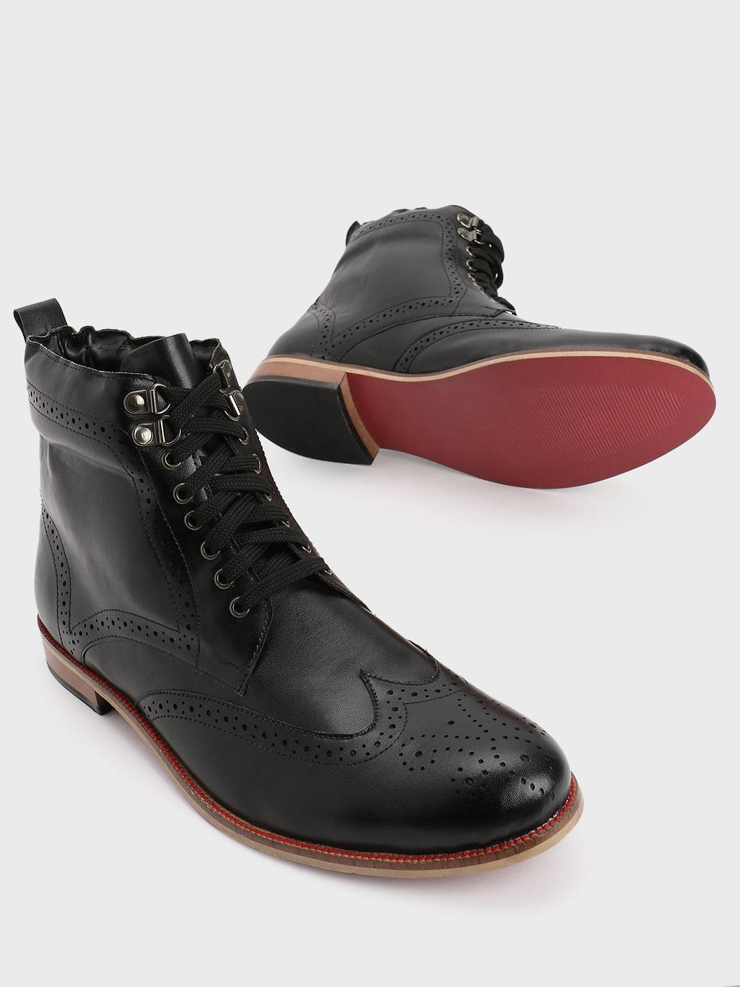 Bolt Of The Good Stuff Black Brogue Mid Top Lace-Up Boots 1