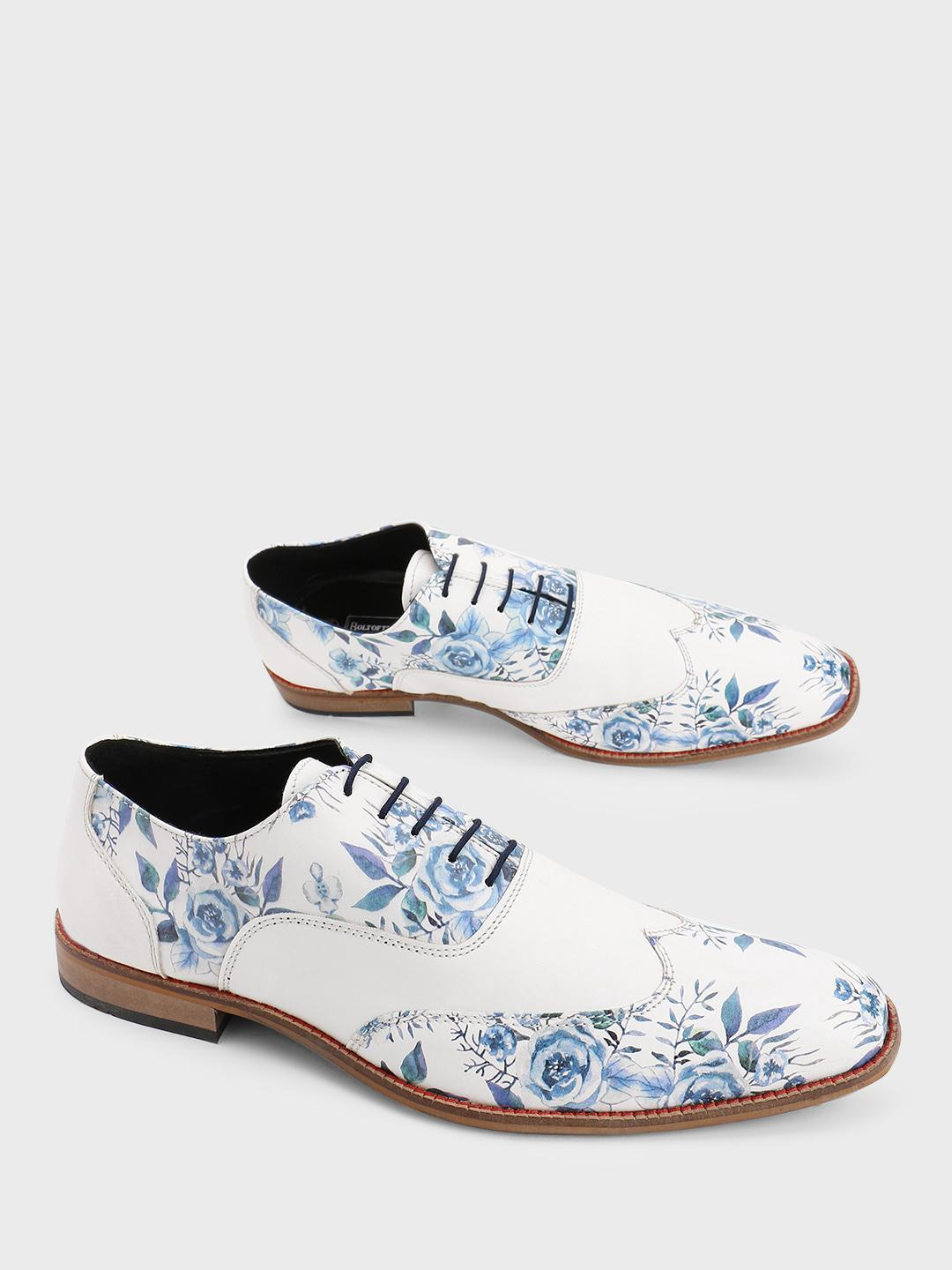 Bolt Of The Good Stuff White Floral Print Derby Shoes 1