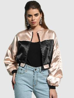 KOOVS Colour Block Satin Crop Jacket