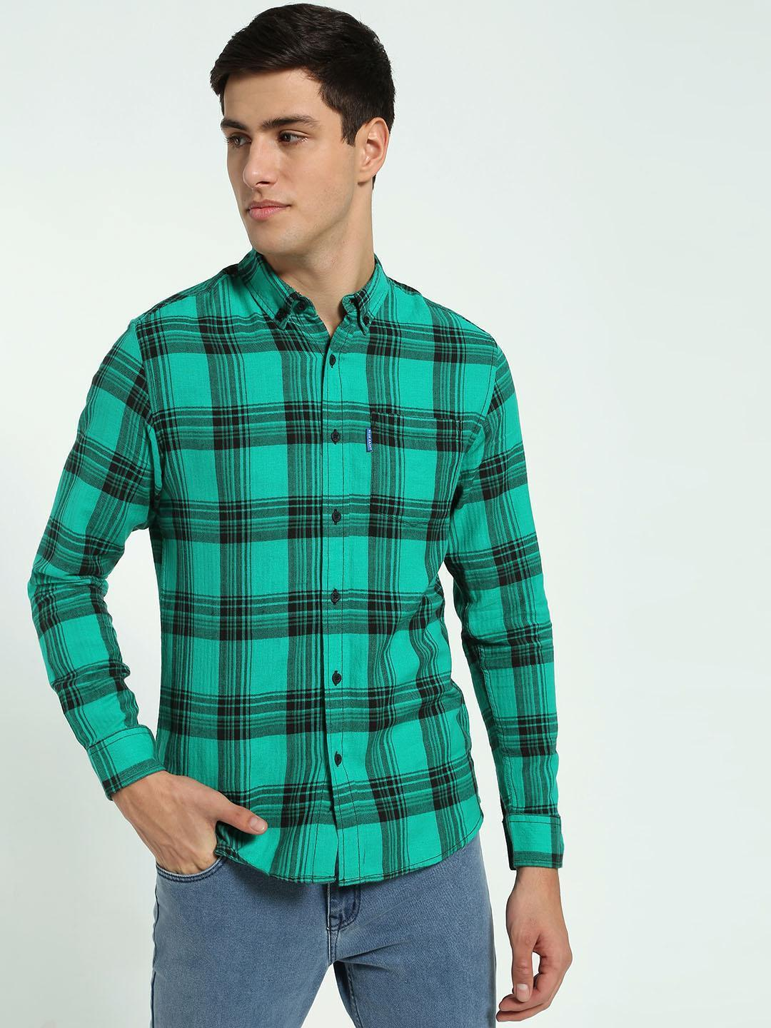 Blue Saint Green Plaid Check Long Sleeve Shirt 1