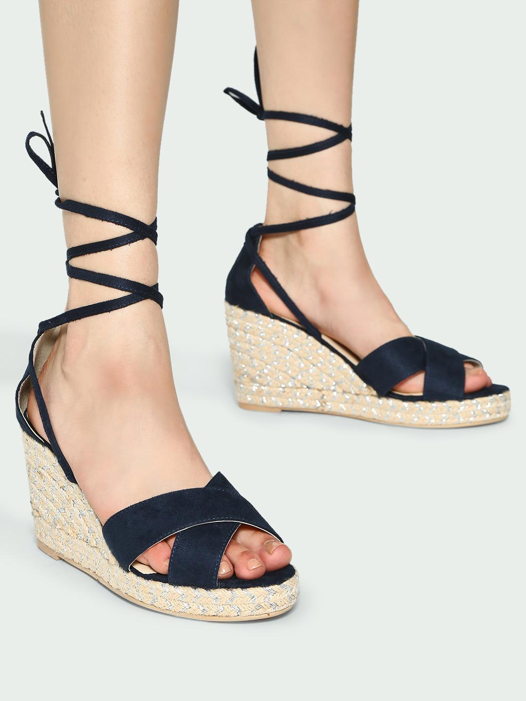 KOOVS Navy Text Ankle Strap Flat Mules 1