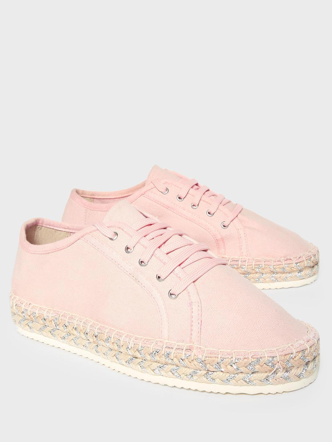 KOOVS Pink Lace-Up Stacked Espadrille Sneakers 1