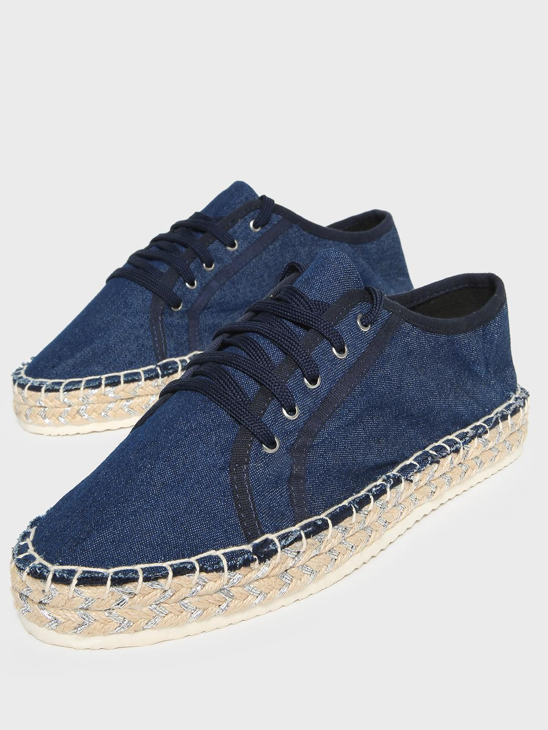 KOOVS Navy Lace-Up Stacked Espadrille Sneakers 1