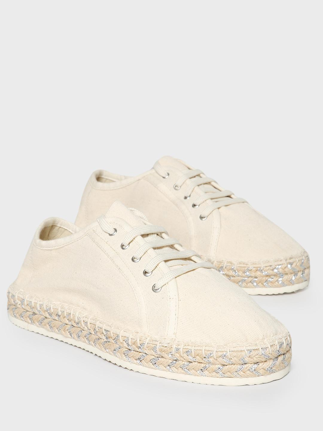 KOOVS White Lace-Up Stacked Espadrille Sneakers 1
