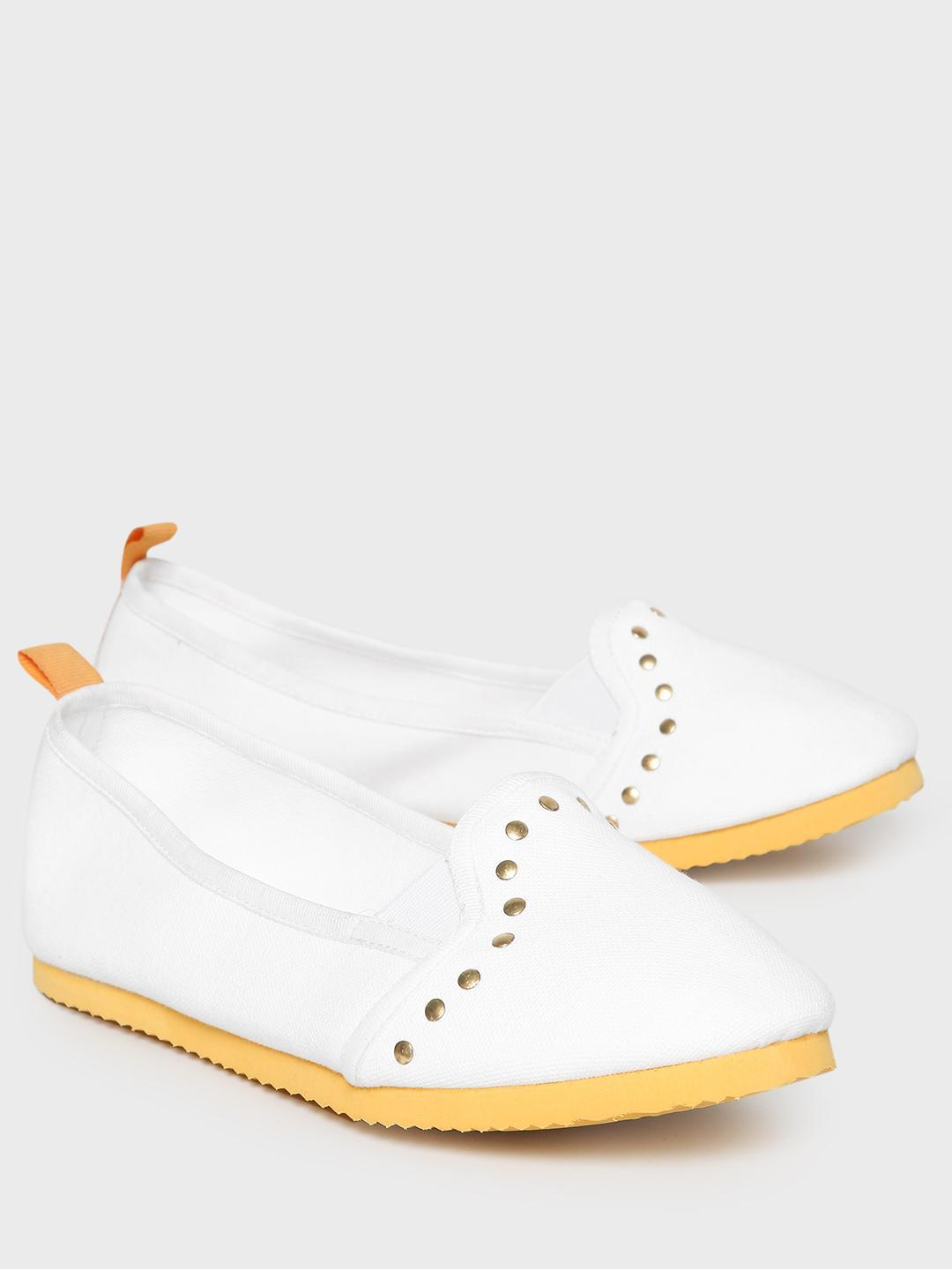 KOOVS White Contrast Sole Studded Canvas Ballerinas 1