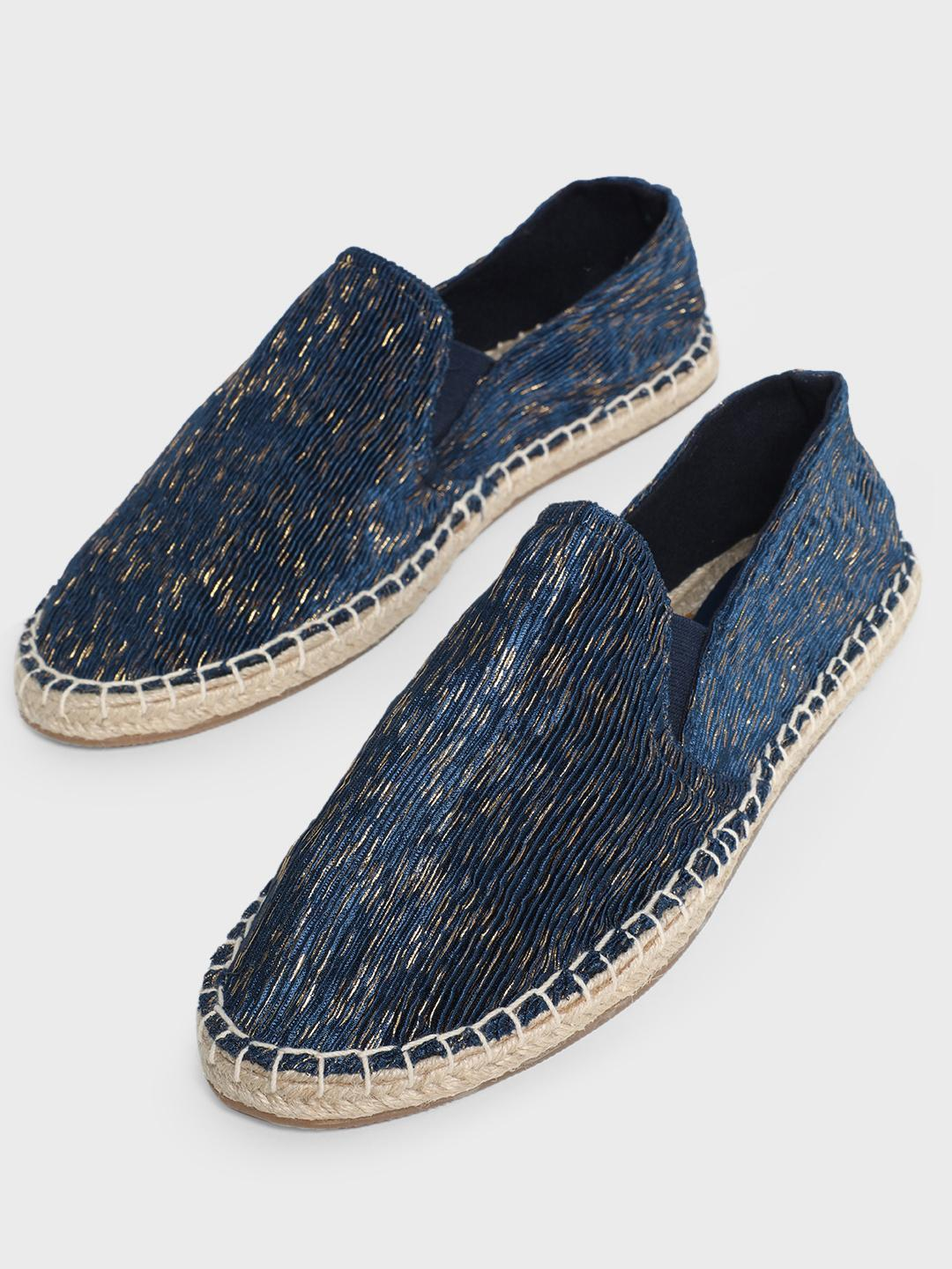 KOOVS Blue Crinkled Gold Textured Espadrilles 1