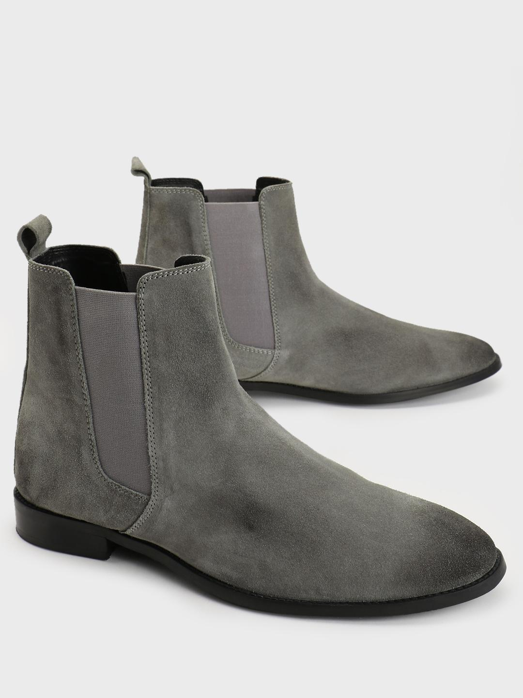 Griffin Grey Suede Chelsea Boots 1