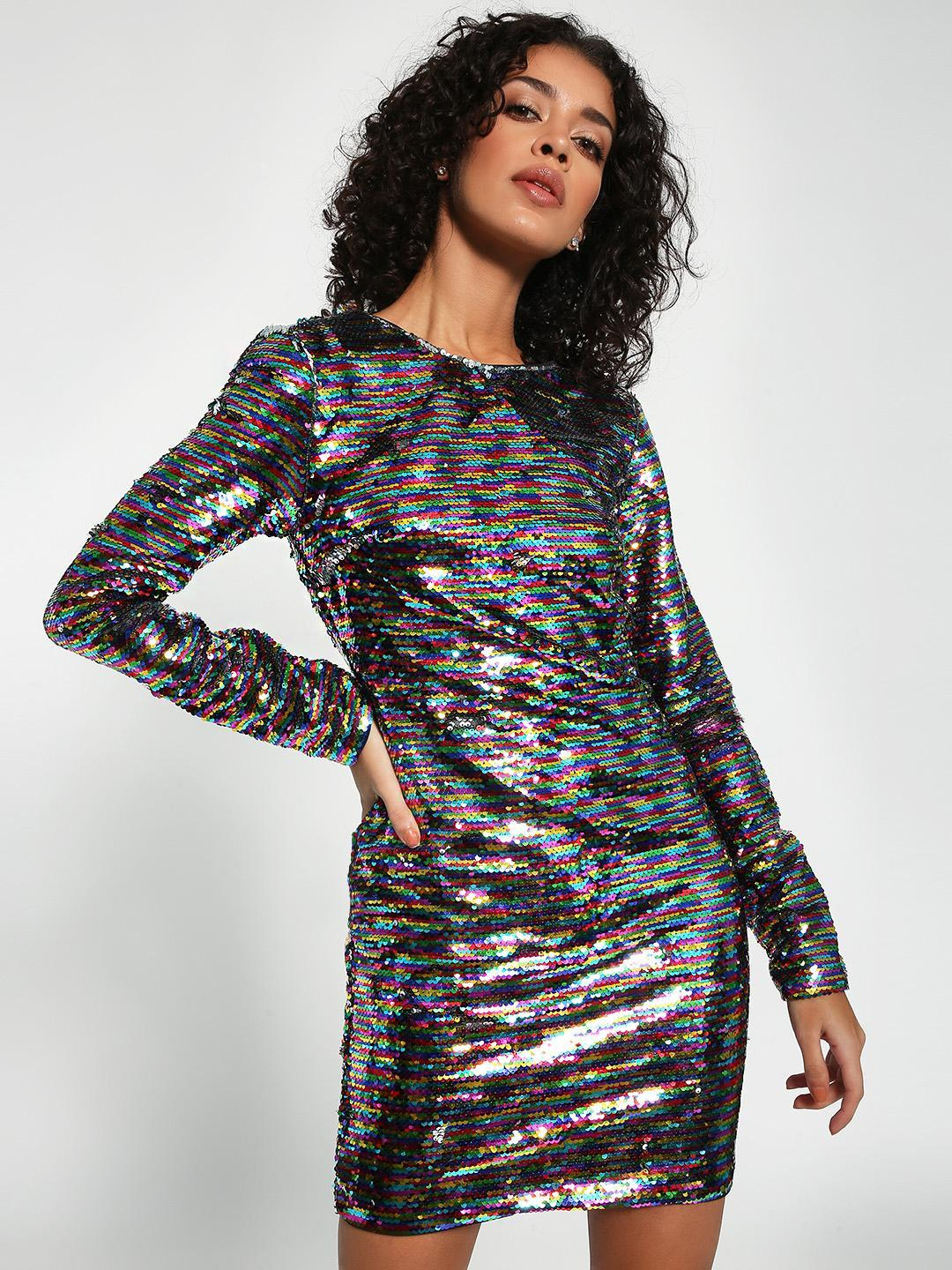 KOOVS Multi Rainbow Sequin Backless Bodycon Dress 1