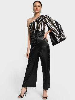 KOOVS Sequinned One Shoulder Cape Jumpsuit