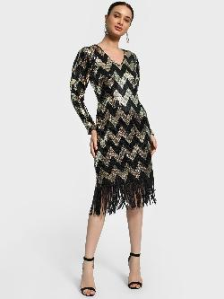 KOOVS Chevron Sequinned Midi Dress