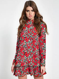 Missguided Floral High Neck Shift Dress