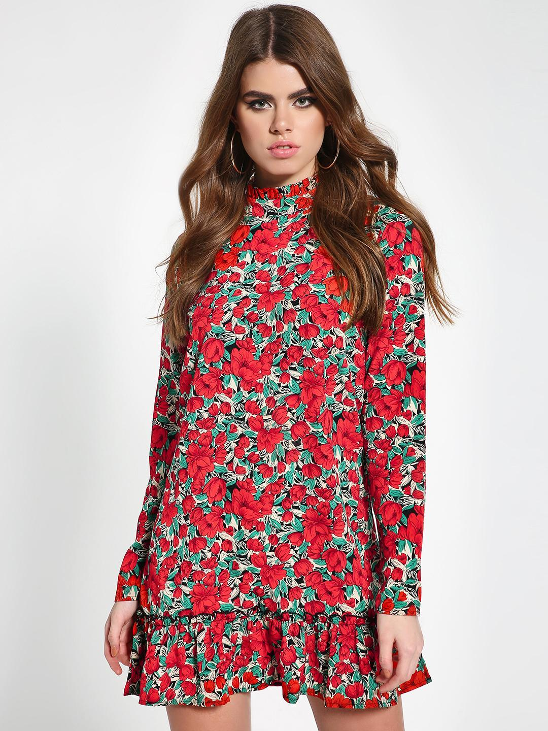 Missguided Red Floral High Neck Shift Dress 1