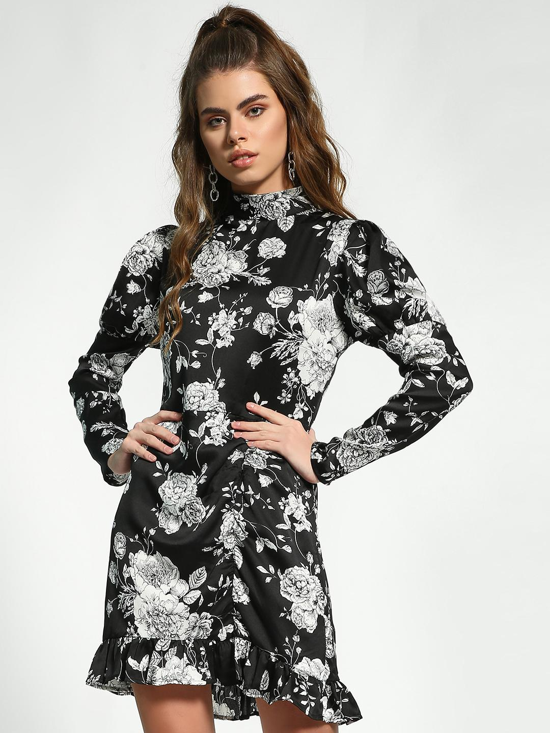 Missguided Multi Floral High Neck Shift Dress 1