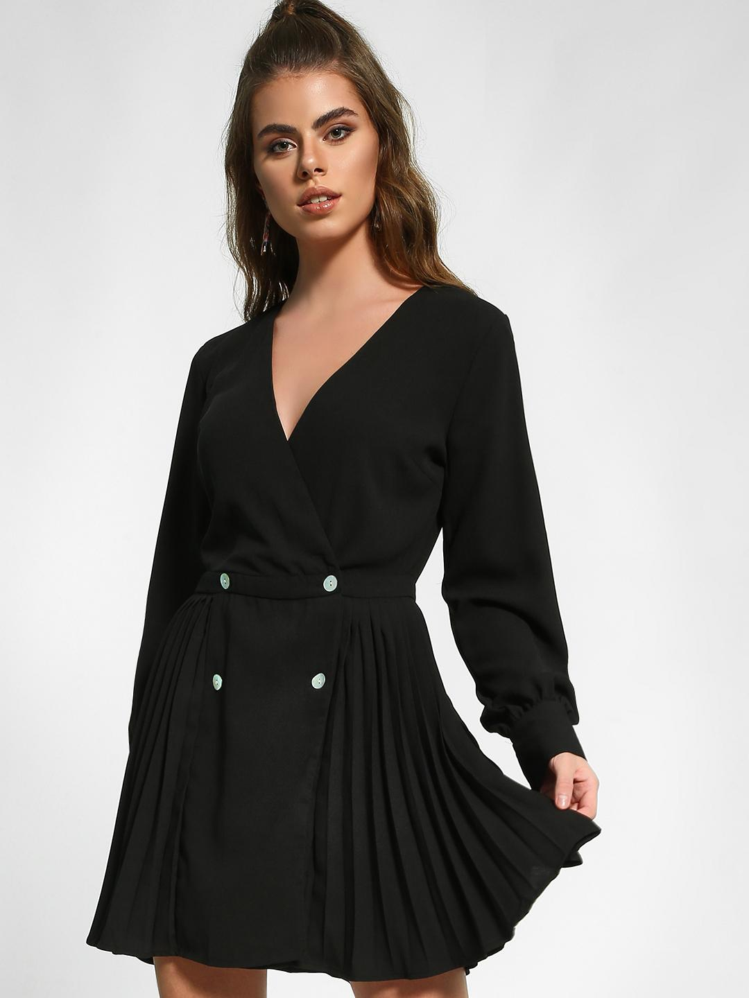 Missguided Black Pleated Tuxedo Skater Dress 1