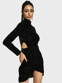 Missguided Glitter Cut-Out Velvet Bodycon Dress