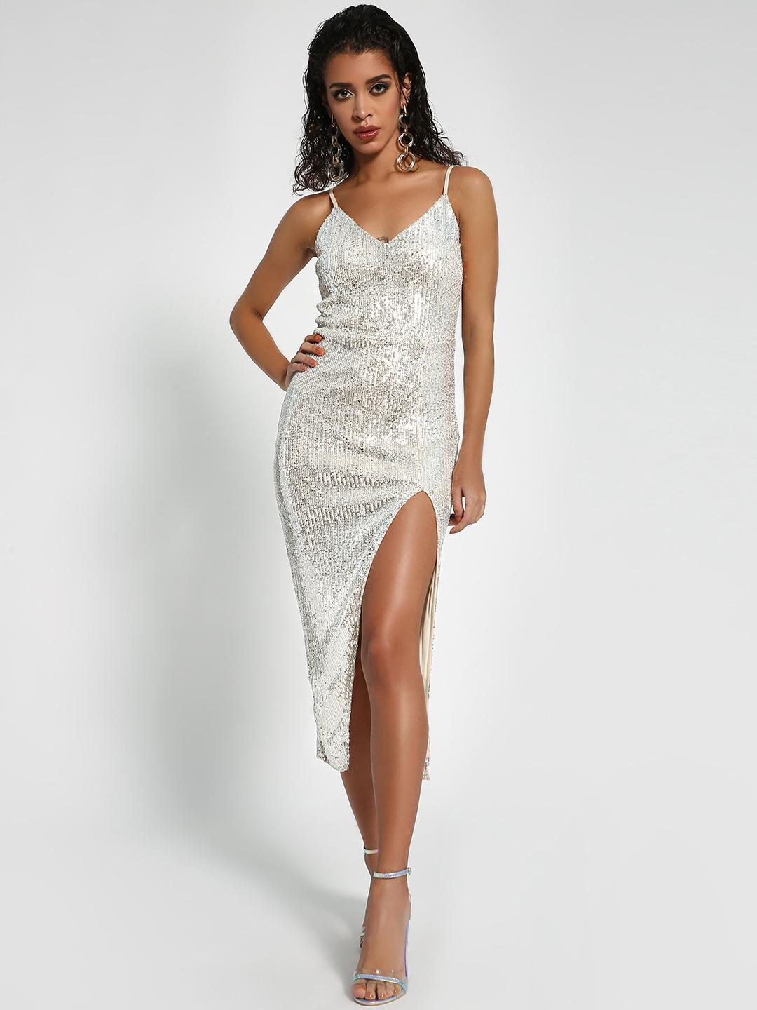 Missguided Silver KOOVS Strappy Sequin Midi Dress 1