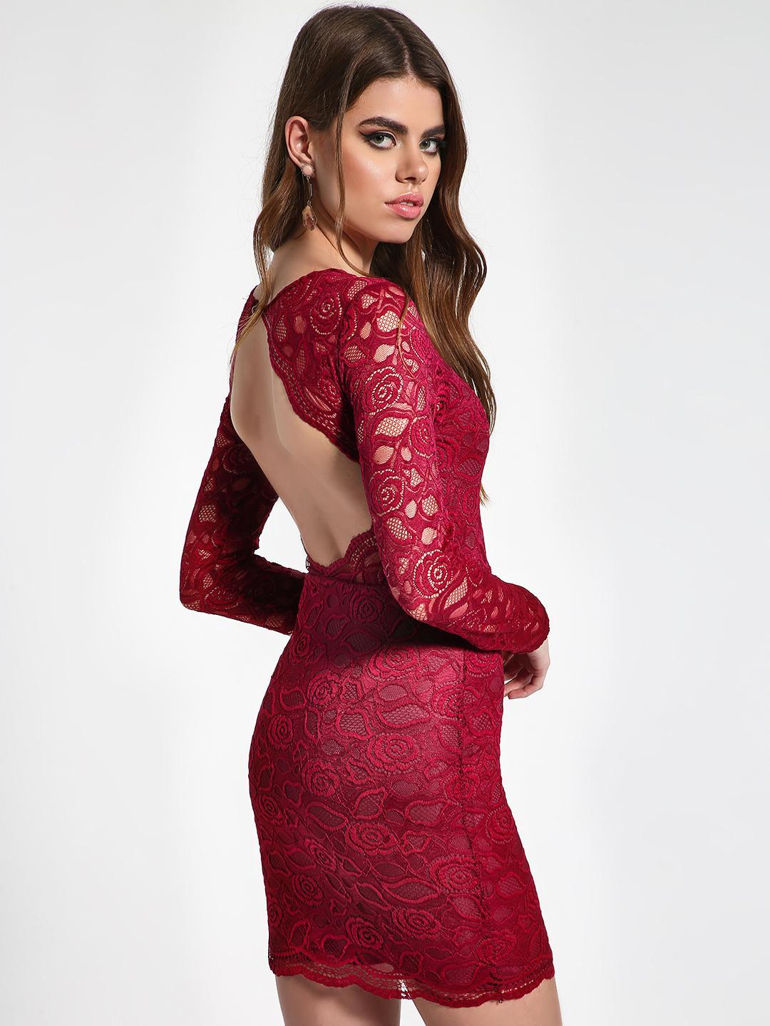 Missguided Burgundy Floral Lace Cut-Out Bodycon Dress 1