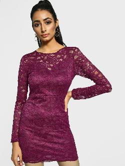 Missguided Floral Lace Cut-Out Bodycon Dress