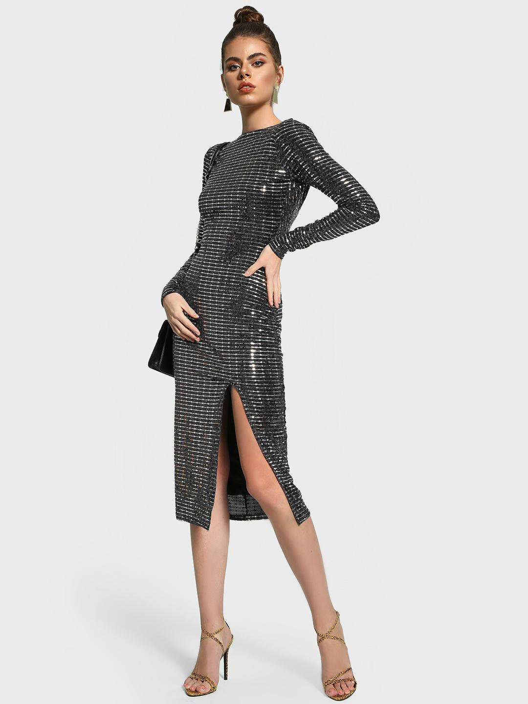 Missguided Black Sequinned Deep Back Bodycon Dress 1