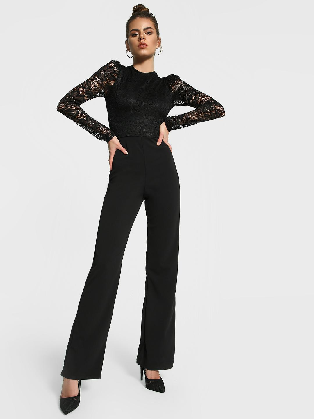 Missguided Black Crochet Lace Wide Leg Jumpsuit 1
