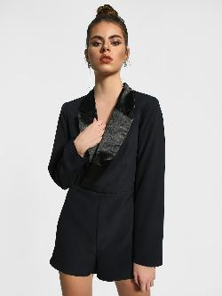 Missguided Wrap Plunge V-Neck Blazer Playsuit
