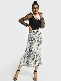 Missguided Snakeskin Print Satin Midi Skirt