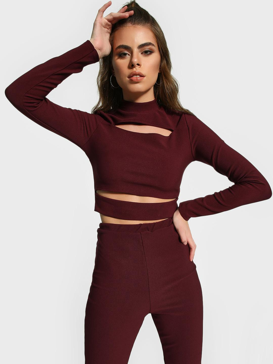 Missguided Burgundy Ribbed Cut-Out Crop Top 1