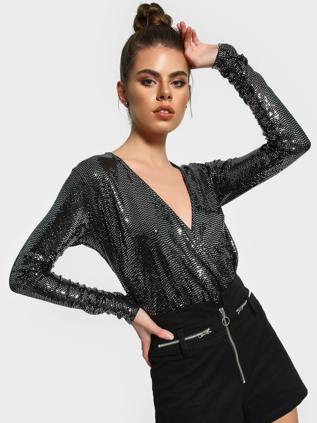 Missguided Black Sequinned Plunge Neck Bodysuit 1