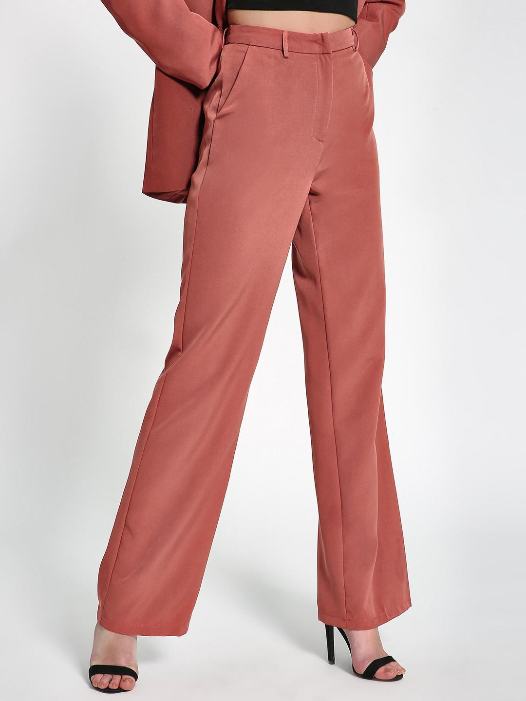 Missguided Brown High-Waist Formal Trousers 1
