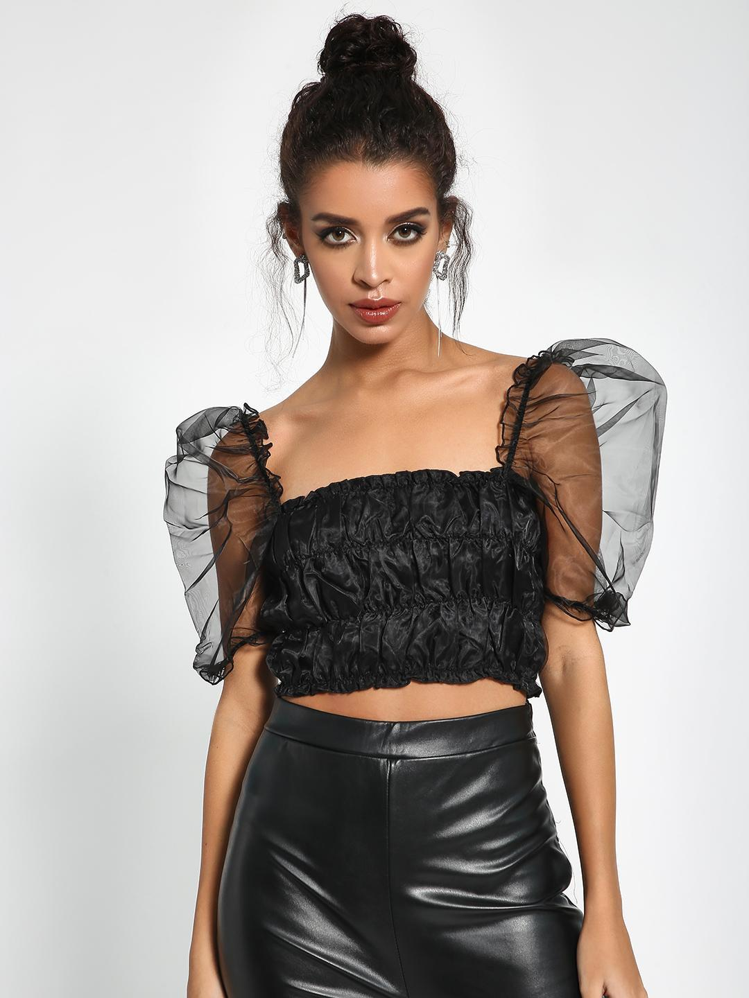 Missguided Black Organza Shirred Crop Top 1