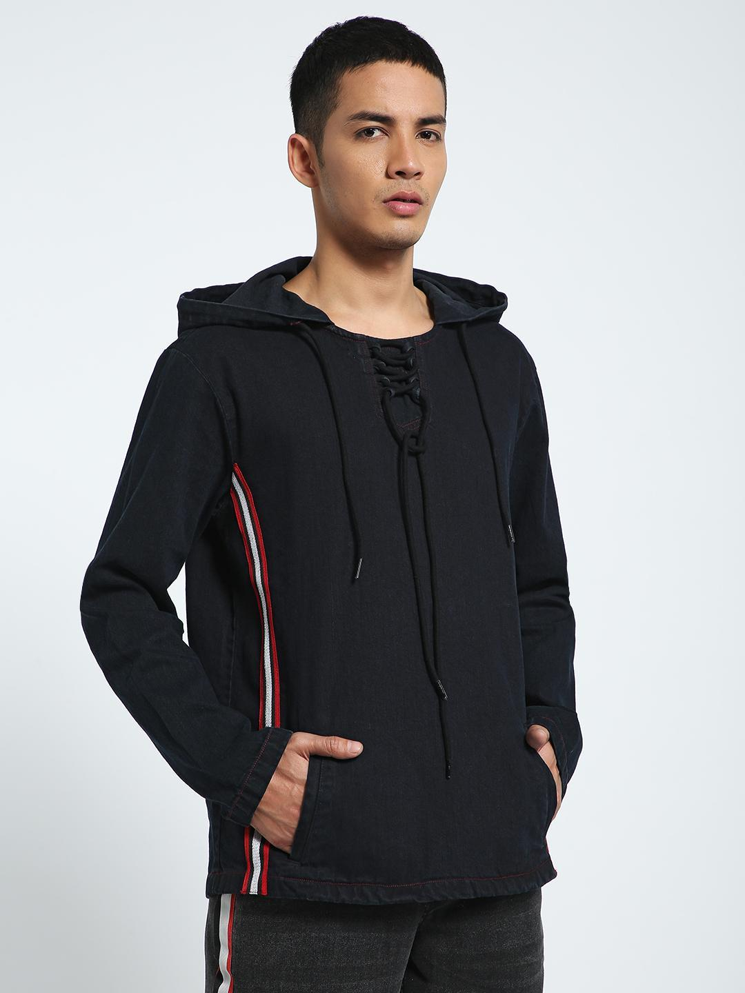 CHELSEA KING Black Contrast Shimmer Tape Denim Hoodie 1