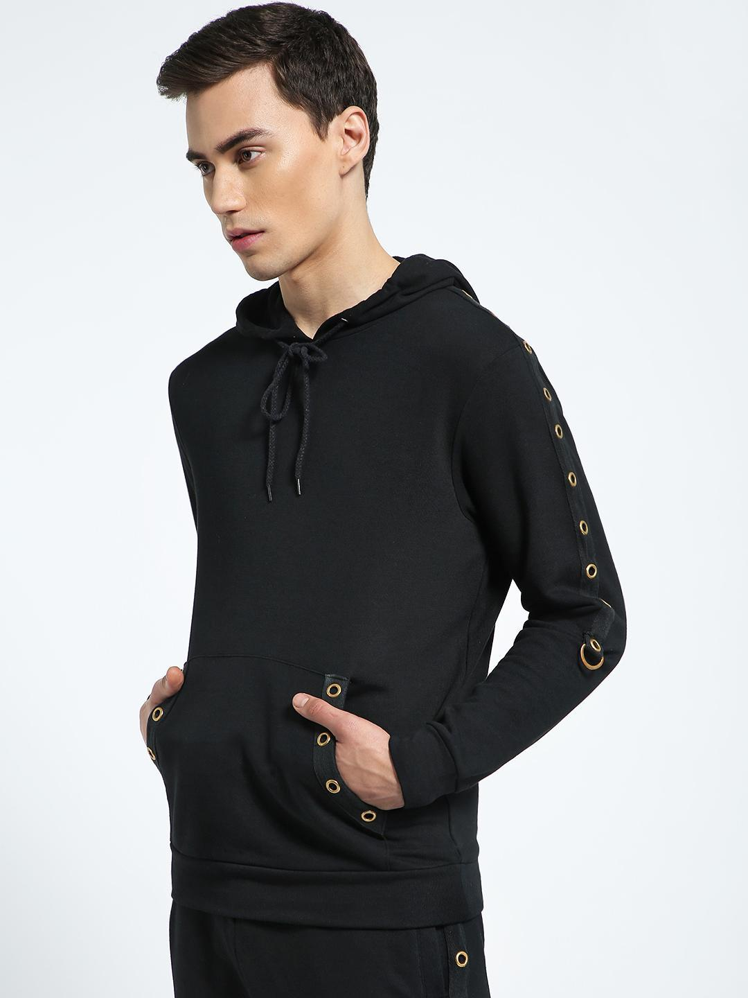 CHELSEA KING Black Eyelet Tape Kangaroo Pocket Hoodie 1