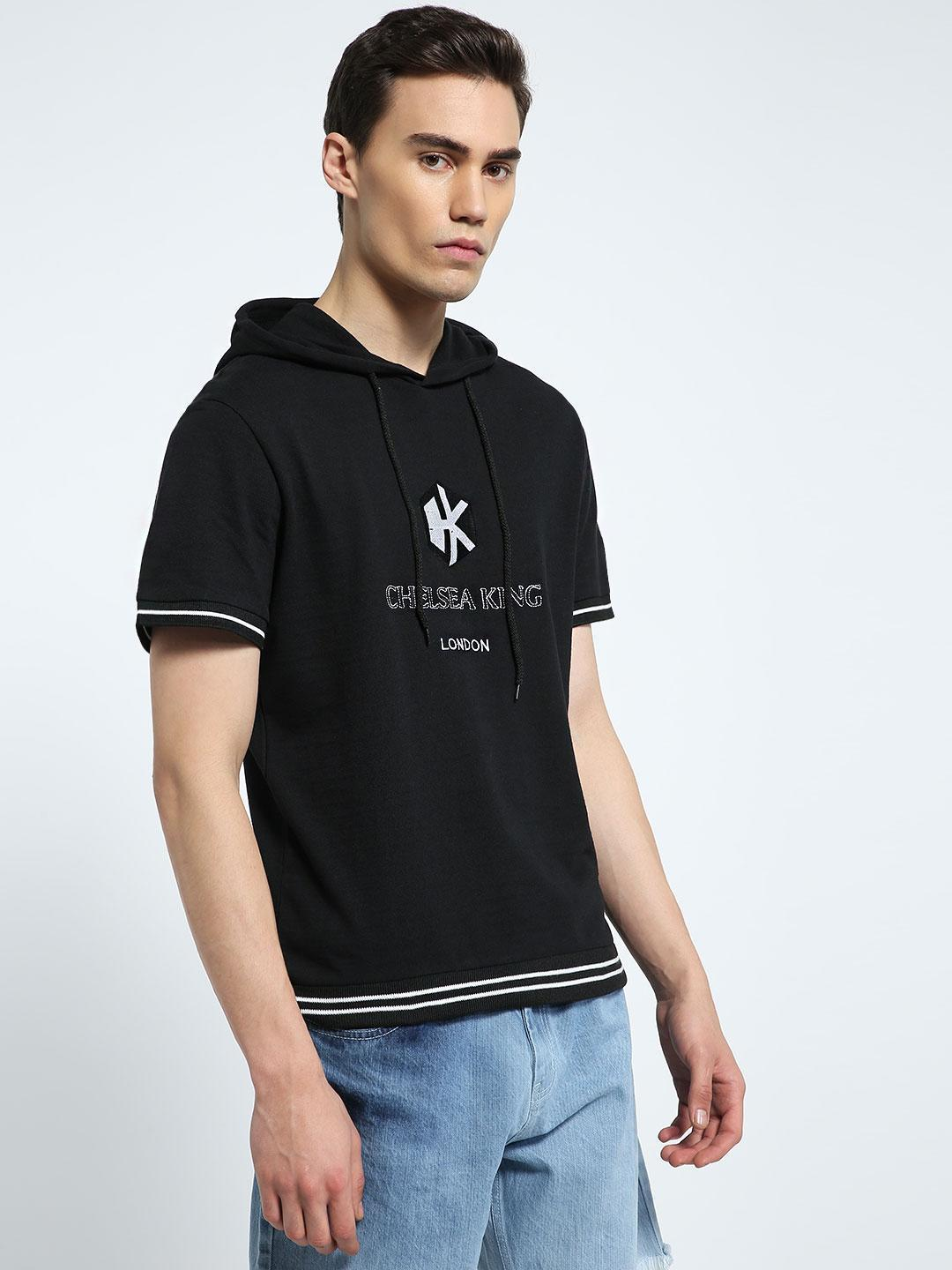 CHELSEA KING Black Logo Embroidered Short Sleeve Hoodie 1