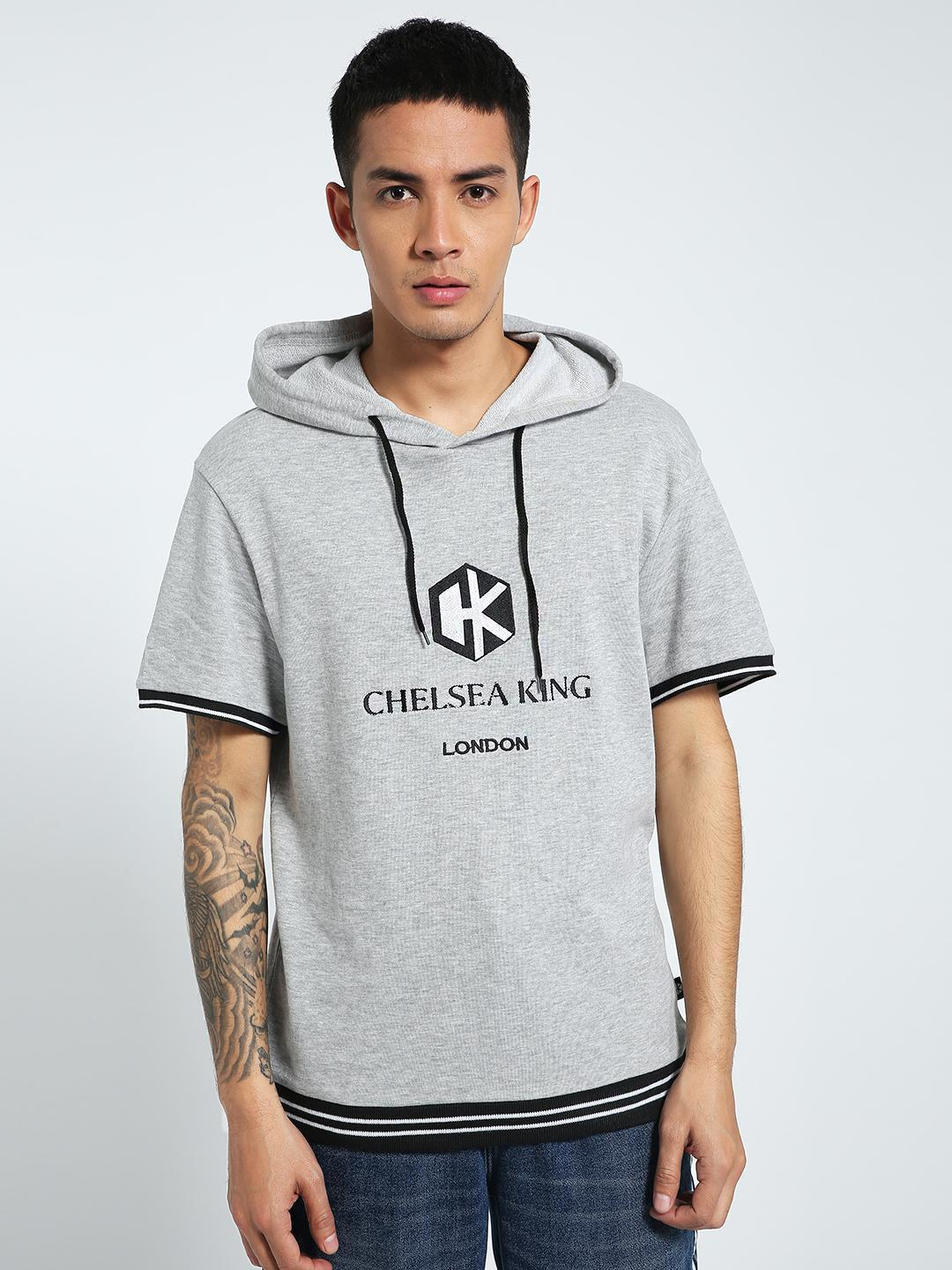 CHELSEA KING Grey Logo Embroidered Short Sleeve Hoodie 1