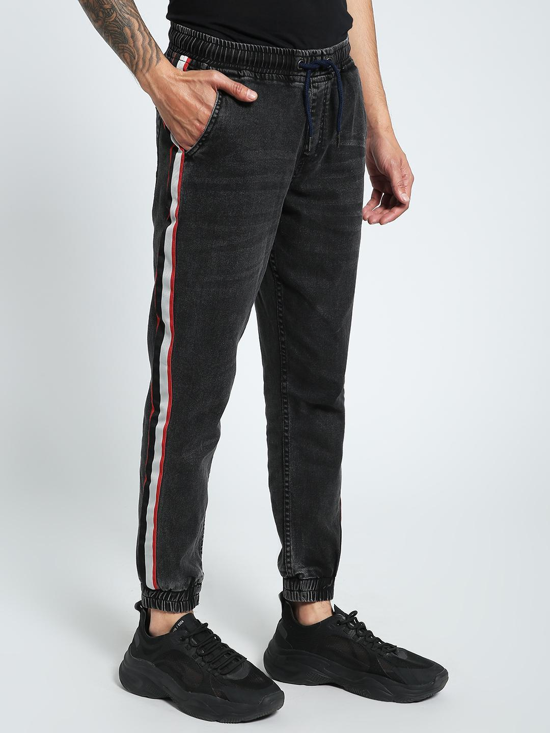CHELSEA KING Black Contrast Side Tape Denim Joggers 1