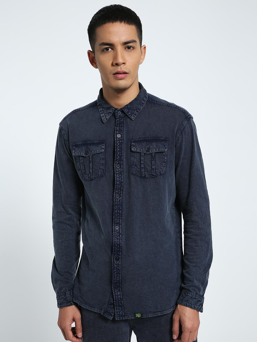 CHELSEA KING Blue Twin Pocket Washed Jersey Shirt 1