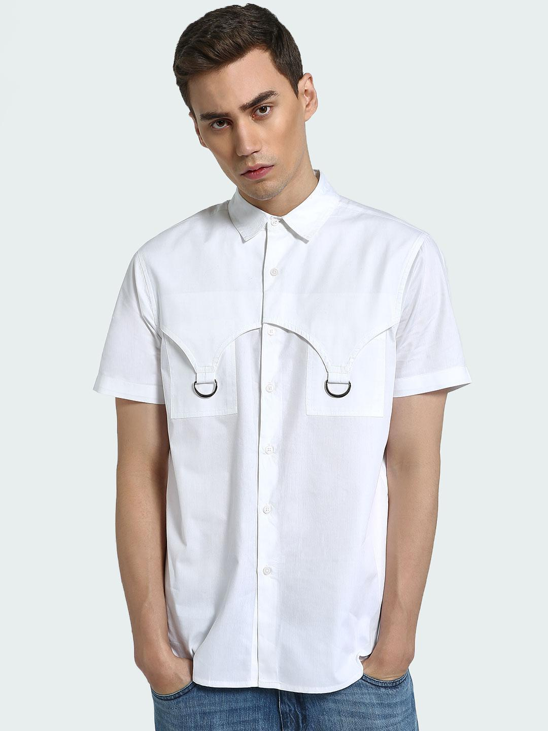 CHELSEA KING White D-Ring Detail Smart Shirt 1