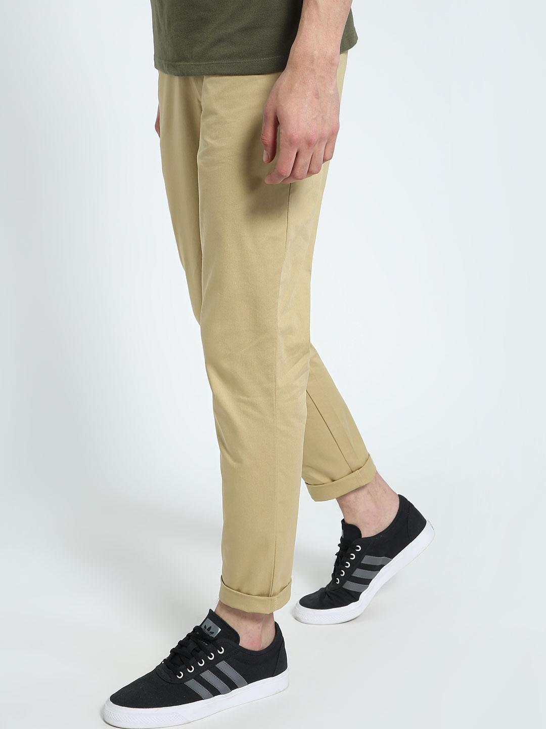 CHELSEA KING Khaki Contrast Tape Detail Chinos 1